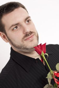 Free Man Waiting With Red Rose And Smile Stock Photos - 8704293