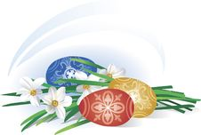 Free Easter Eggs Near To Spring Flowers Royalty Free Stock Photos - 8706578