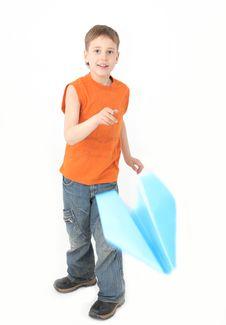 Free Boy Starts Paper Plane Royalty Free Stock Photo - 8707875