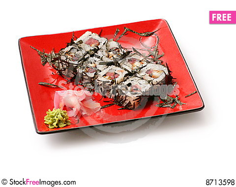 Rolls with seaweed, salmon and octopus Stock Photo