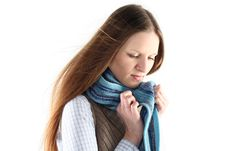 Young Woman Wrap Up Into Scarf Stock Photos