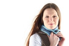 Young Woman Wrap Up Into Scarf Royalty Free Stock Photography