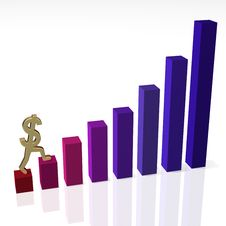 Dollar Sign Climbing Bar Chart Stock Photo