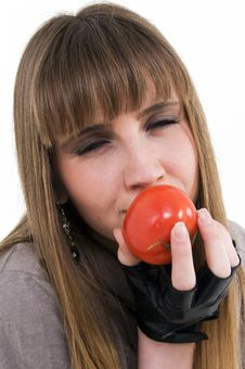 Free Girl With Tomato Stock Image - 8711291