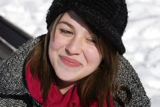 Portrait Of Woman In Winter Coat Stock Photography