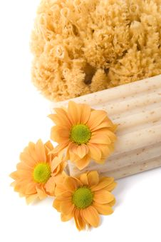 Natural Sponge, Soap And Flowers Royalty Free Stock Photos