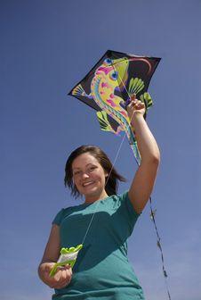 Free Teen Girl Holds Kite Royalty Free Stock Photo - 8713235