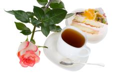 Free Rose Tea And Cake Stock Images - 8713664