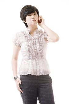 Free Female Asian Model On White Stock Images - 8716244