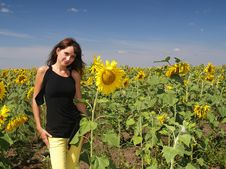 Beautiful Girl In The Sunflower Royalty Free Stock Images