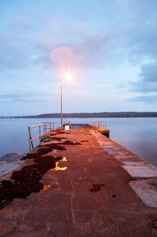 Free Reflection Of Twilight On Lake With Pier Royalty Free Stock Photos - 8718138
