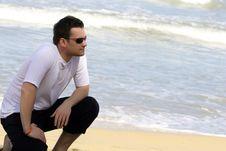 Free Man On The Beach Royalty Free Stock Photo - 8719085