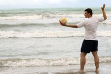 Free Man With Volleyball On The Beach Stock Images - 8719114