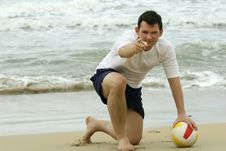 Free Man With Volleyball On The Beach Stock Photography - 8719122