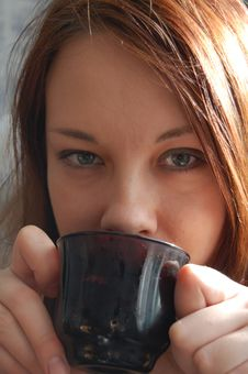 Free Woman Drinking Tea Or Coffee Stock Photography - 8719132