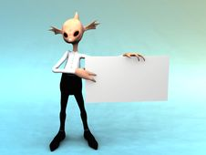 Free Alien Fantasy Creature With Blank Sign Stock Image - 8719491