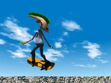 Free Cartoon Punk Rocker Skateboarding Royalty Free Stock Images - 8719519