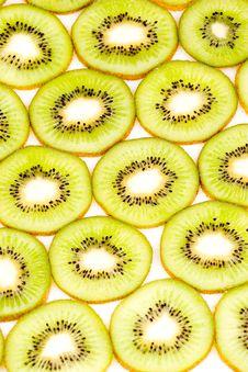 Kiwi Slices On White Closeup Stock Photography