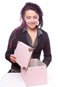 Sexy Girl Holding A Gift Stock Photography
