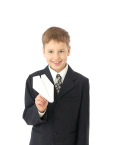 Free Boy Starts Paper Plane Royalty Free Stock Photography - 8723087