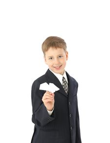 Free Boy Starts Paper Plane Royalty Free Stock Photography - 8723187