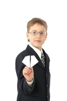 Free Boy Starts Paper Plane Royalty Free Stock Photos - 8723238