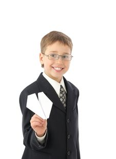 Free Boy Starts Paper Plane Royalty Free Stock Photography - 8723287