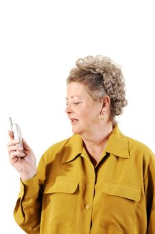 Senior Woman On The Cell Phone. Stock Photography