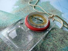 Free Map And Compass Stock Images - 8724644