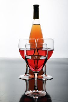 Bottle And Glasses Of Wine Stock Images