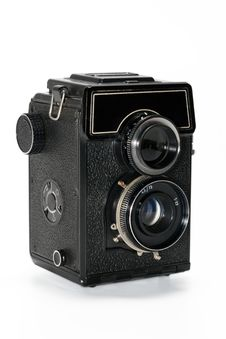 A Camera Is Black, With Two Lenses Stock Images