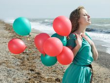 Free Girl With Balloons Royalty Free Stock Photo - 8729135