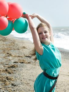 Free Girl With Balloons Royalty Free Stock Photos - 8729138