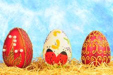 Free Three Luxury Easter Eggs Royalty Free Stock Photography - 8729247