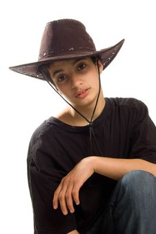 Free Boy Wearing An Original Cowboy Hat Stock Photo - 8729760