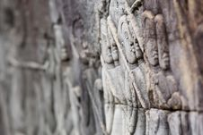 Carving At Angkor Thom Stock Image
