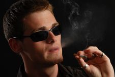 Young Man With A Cigarette Stock Photography