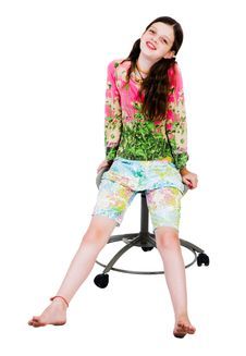 Free Girl Sitting On A Chair Royalty Free Stock Photography - 8731807