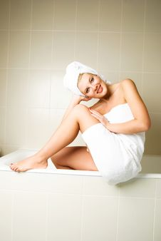 Beautiful Woman In The Bathroom Royalty Free Stock Photography