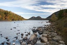 Jordan Pond And Bubble Mountains Royalty Free Stock Image