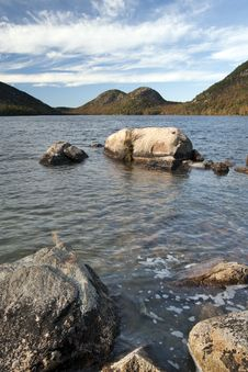 Boulders And Bubble Mountains At Jordan Pond Royalty Free Stock Image
