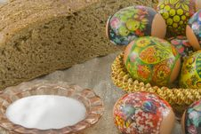 Many Fresh Easter Rural Decorated Eggs Stock Image
