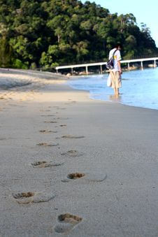Free Footprints On Beach Stock Photos - 8733673