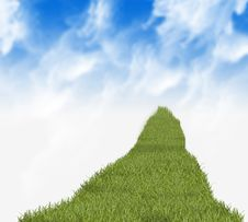 Grass Path And Sky Royalty Free Stock Photo