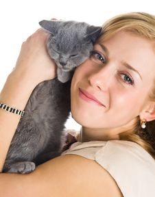 Free Young Beautiful Woman And Little Kitten Stock Images - 8735244