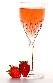 Glass Of Wine With Strawberries Stock Image