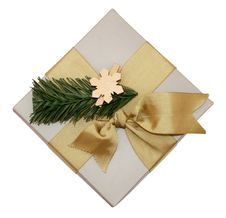 Free Gift Box With Golden Ribbon Royalty Free Stock Photos - 8737858