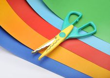 Free Colored Paper And Scissors Royalty Free Stock Photography - 8738117