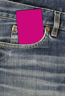 Free Jean Texture With Pocket And Empty Card Royalty Free Stock Photography - 8738347