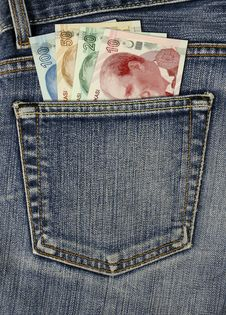 Jean Back Pocket And Turkish Lira Royalty Free Stock Photo